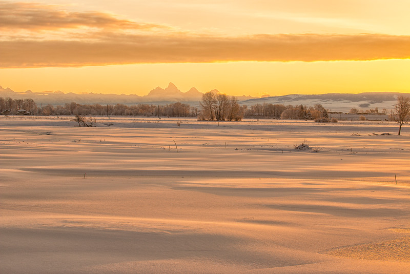 Grand Tetons at Sunrise with snow field