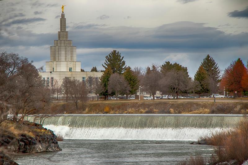 Idaho Falls Temple and falls
