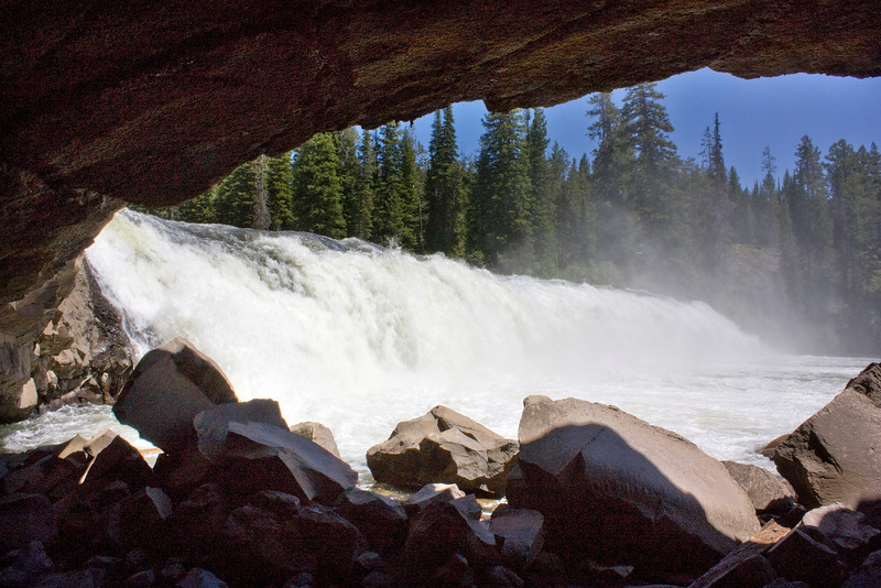 Cave Falls (on the Fall River, Yellowstone, Wyoming) from the Cave at the base of the falls. July 10, 2008. Note: This cave collapsed in June 2009.