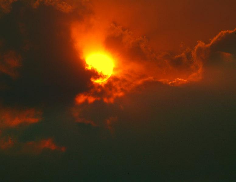 Sunset through smoke from Centennial Valley, MT at RedRock RV Park. 2006