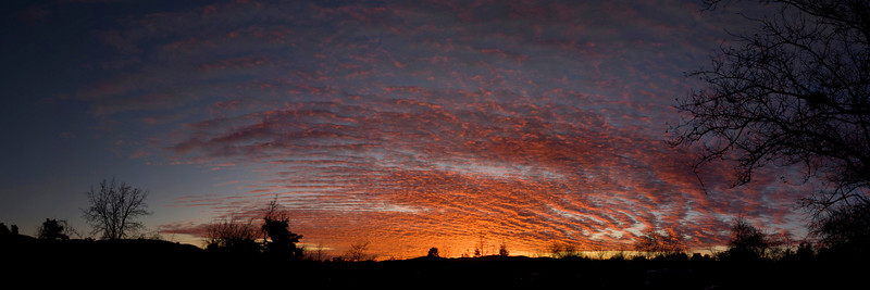 """Sunset in Silent Valley RV Park, looking West. January 2009 (36 x 12"""" Panorama)"""