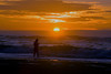 Girl on Oregon Beach at Sunset