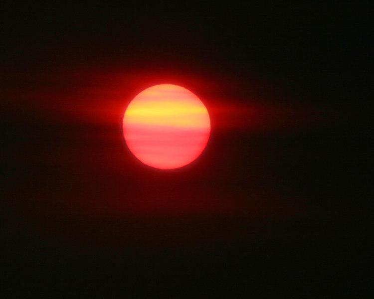 Sunset through thick smoke. near Marysville, CA.