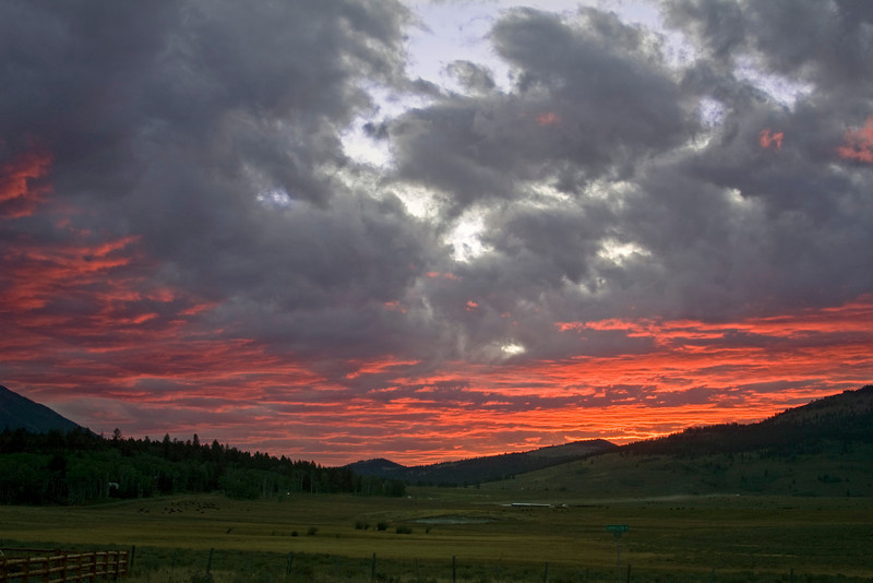 Sunset over Sawtelle Meadows near Island Park, Idaho. September 2008