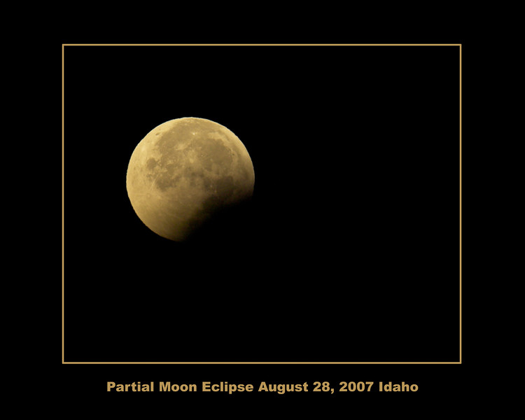 Towards the end of the moon eclipse on the morning of August 28th, 2007. This was about 6 AM, taken in Island Park, Idaho, right before the moon disappeared behind the Centennial Mountains.