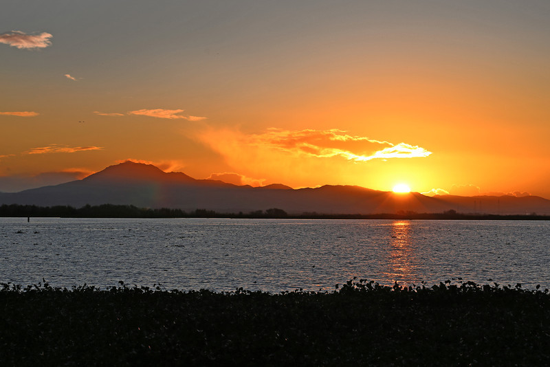 Sunset over the San Joaquin River near Rio Vista, CA, Dec 12, 2012.