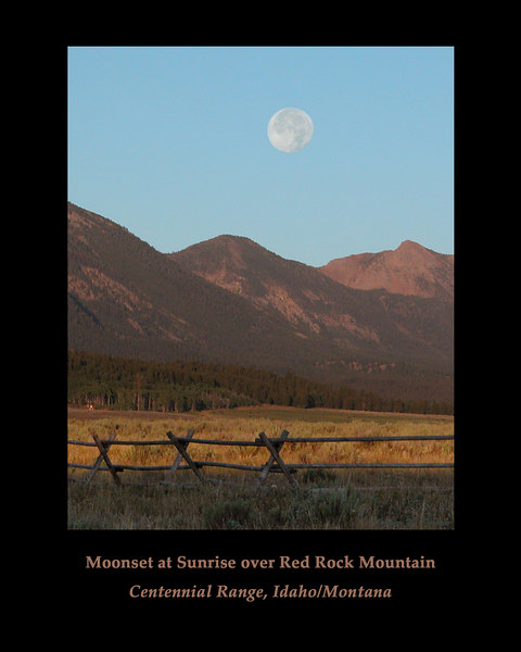 At sunrise, the moon is setting over the Centennial Mountains and Red Rock Mountain on the Idaho/Montana border (continental divide) in Summer 2006.
