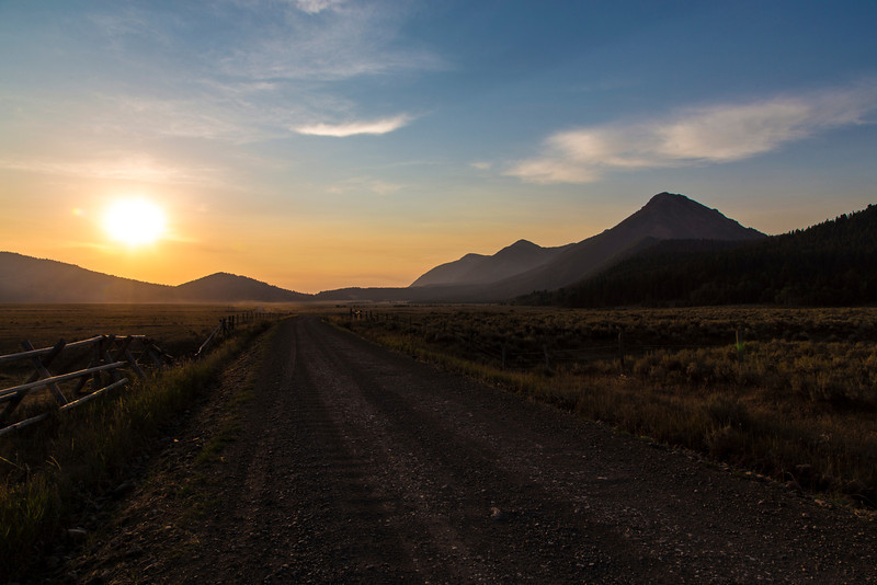 South Valley Road in Montana at Sunrise. Centennial Mountains on the right.