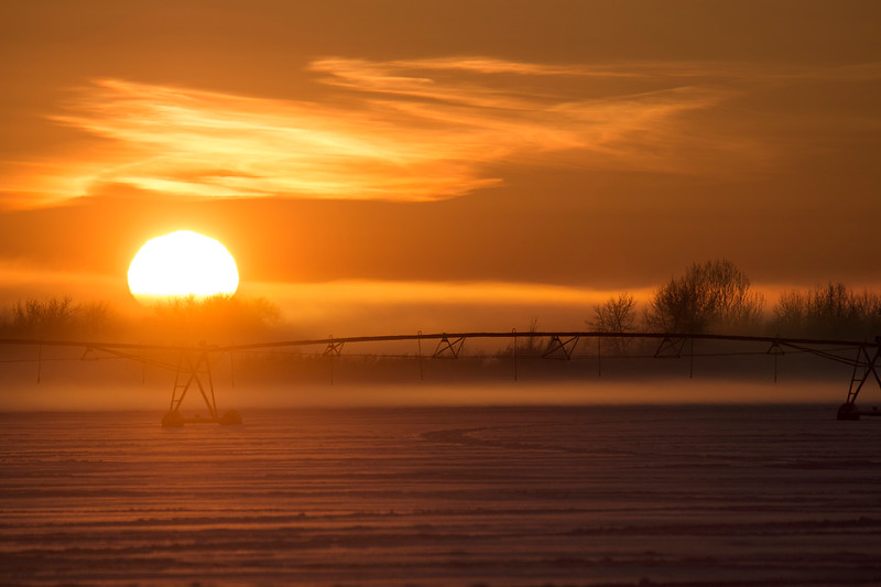 Sunset over a frozen potato field, Idaho