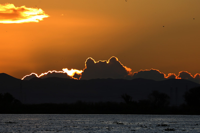 Sunset over the San Joaquin River near Rio Vista, CA, Dec 12, 2012.