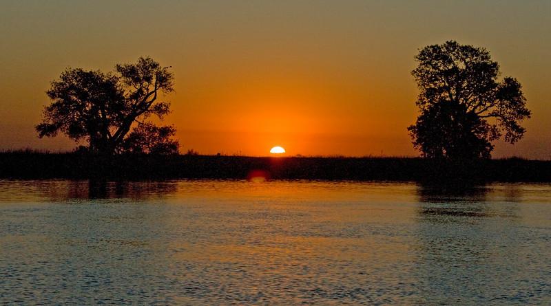 Sunrise over the lower Mokelumne River River on the Sacramento Delta. Oct 2008