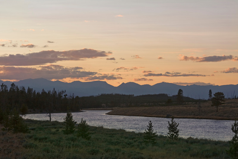 Looking west at the Madison River from Yellowstone National Park at sunset. September 12, 2008.