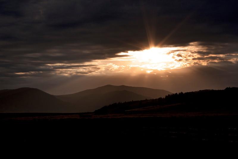 The sun has risen over the Yellowstone Plateau in late August near Island Park, Idaho. 2011