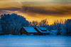 Sunrise in Parker Idaho after snow