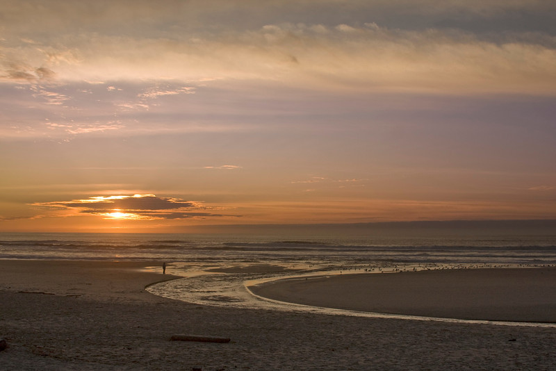 """Sunset over Pacific Ocean near Lincoln City, Oregon with """"D"""" River in foreground. Nov 2, 2009"""