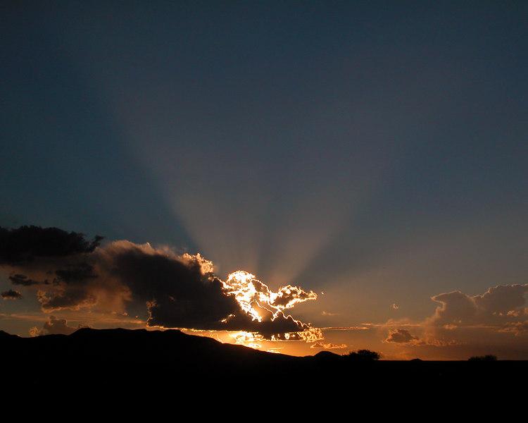 God beams at sunset at Big Bend Nat'l Park, Texas.