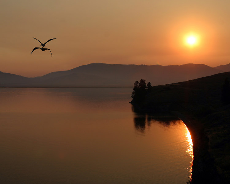 Sunrise reflected in a bay of Henry's Lake through the heavy smoke from the numerous Wyoming fires in the Summer of 2006.
