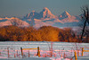 Tetons at Sunset in winter