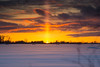 Sun setting over Potato field in east Idaho