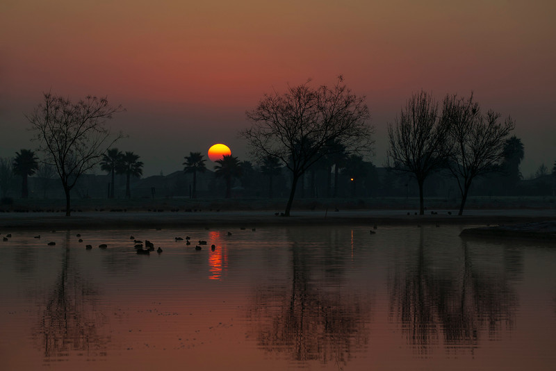 "Sunrise at ""The Lakes RV & Golf Resort"" near Chowchilla, CA. Jan 4, 2013."