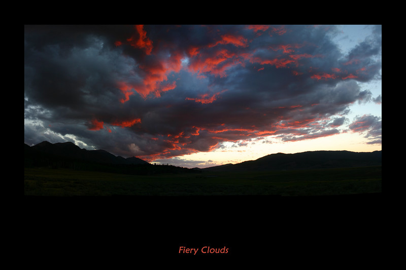 The clouds were this red as if a fire from below had torched them. from RedRock RV Park in Idaho, August 2007  Print this as 20 x 30 (it is high resolution).