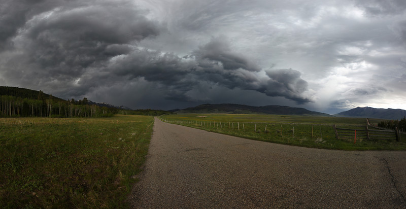 Looking west along Red Rock Road, near Henry's Lake, this panorama shows the storm front on it's way east. June 2, 2012