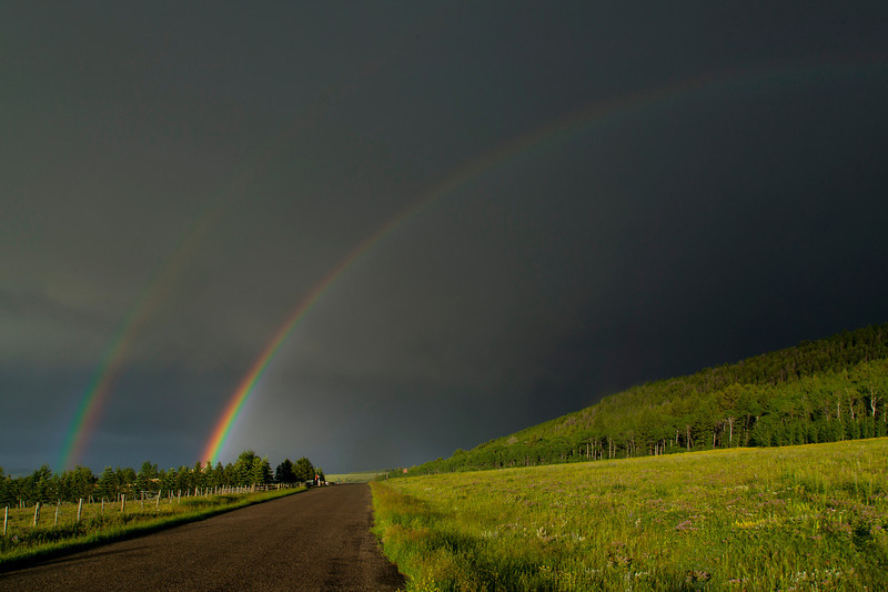 Double rainbow over RedRock RV Park on 7/6/2013.