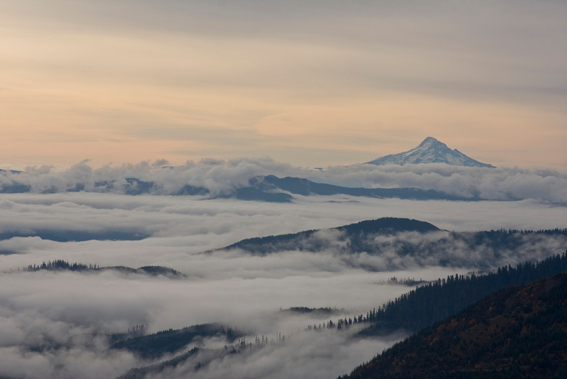 Valleys filled with low clouds and Mt. Hood rising through them from near Mt. Saint Helens, Washington. Oct 20, 2009