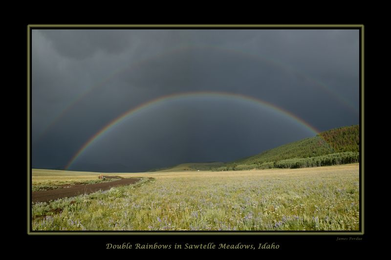 Double Rainbow from Red Rock RV in Sawtelle Meadows, Idaho August 2004