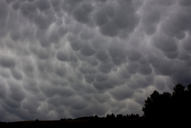 "Mammatus clouds, also known as mammatocumulus, meaning ""Mammary cloud"" or ""Breast cloud"" near RedRock RV Park in Island Park, Idaho. These clouds formed after a storm passed over the RedRock RV Park August 31, 2009."