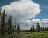 Beautiful cloud forming over Montana. Middle fork of the Madison River. near West Yellowstone.