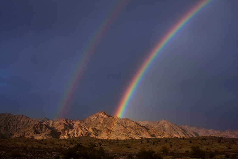 Partial double rainbow over North Gila Mountains near Yuma, AZ on Feb 27,  2010.