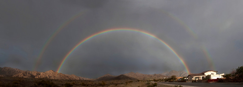 Double rainbow over the North Gila mountains north of Yuma, Arizona during a rainstorm on Feb 27, 2010.