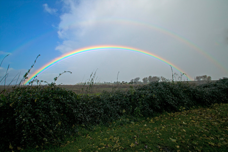 Rainbow over the Sacramento Delta, California. Secondary and Primary bows are present on Nov 30, 2012.
