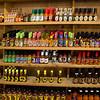 A entire wall of very hot sauces at Casa de Fruta.
