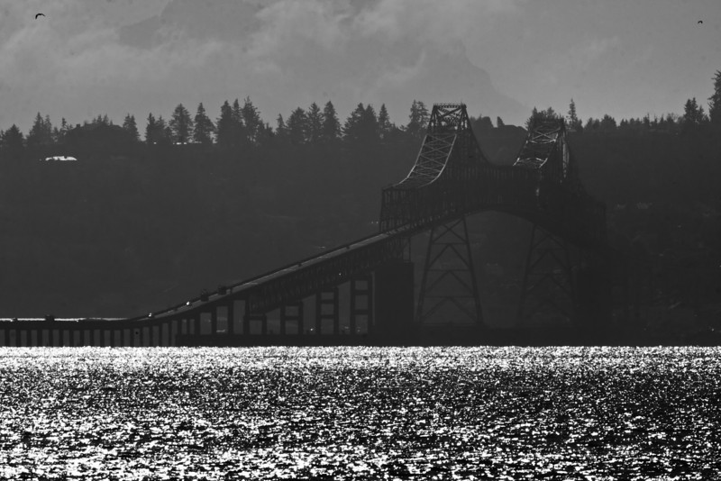Astoria (OR) bridge over Columbia River. In Black and White. Oct 2012