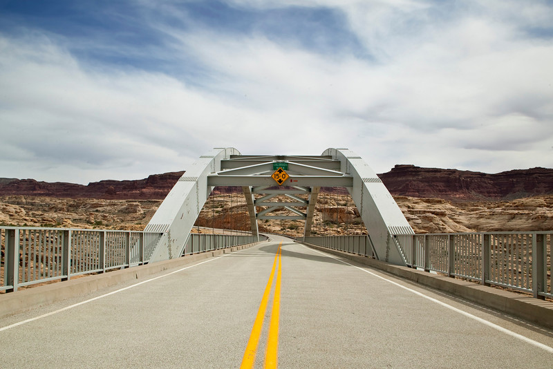 Road surface of Colorado River bridge on Highway 95 near the northern end of Lake Powell in southeastern Utah. April 10, 2010.