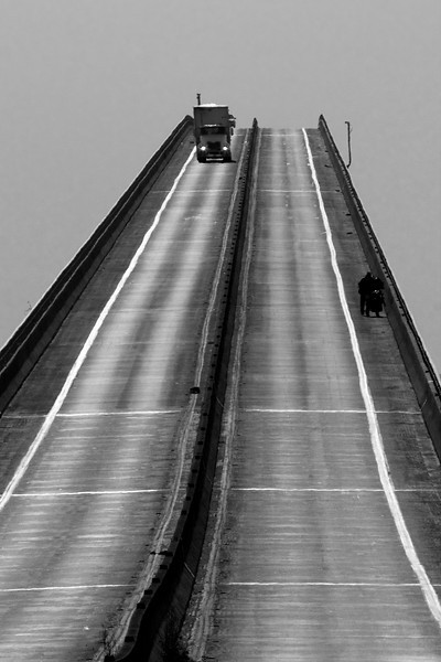 Rendered in Black and White, the Antioch Bridge looks almost frightening to climb from this perspective. Dec 2009 Northern California Delta.