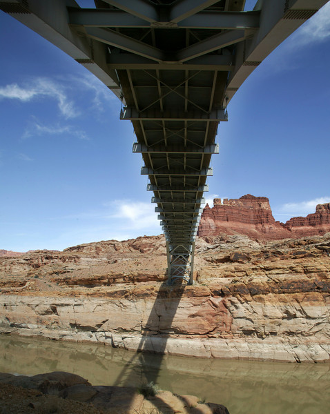 View under the carriage of the Hite Crossing bridge over the Colorado River on US 95 in southeast Utah. April 10, 2010.
