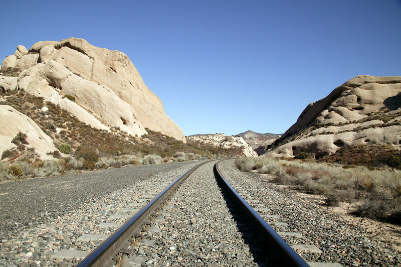 Railroad Tracks between the Morman Rocks near Interstate 15 and 215 in Southern California. 2007