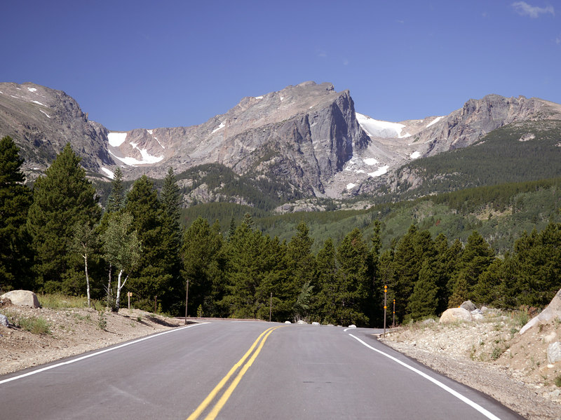 Road to Bear Lake, with Hallett Peak in background and glacier reminent. Rocky Mountain National Park, Colorado.