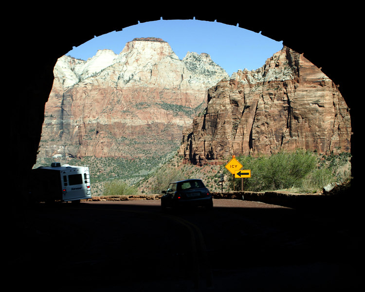 Exit from the Zion Tunnel, Zion National Park.