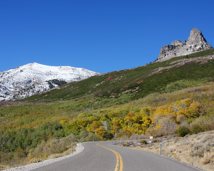 Angel Lake Road with spires of the Ruby Mountains in the background. Nevada. September 2007.