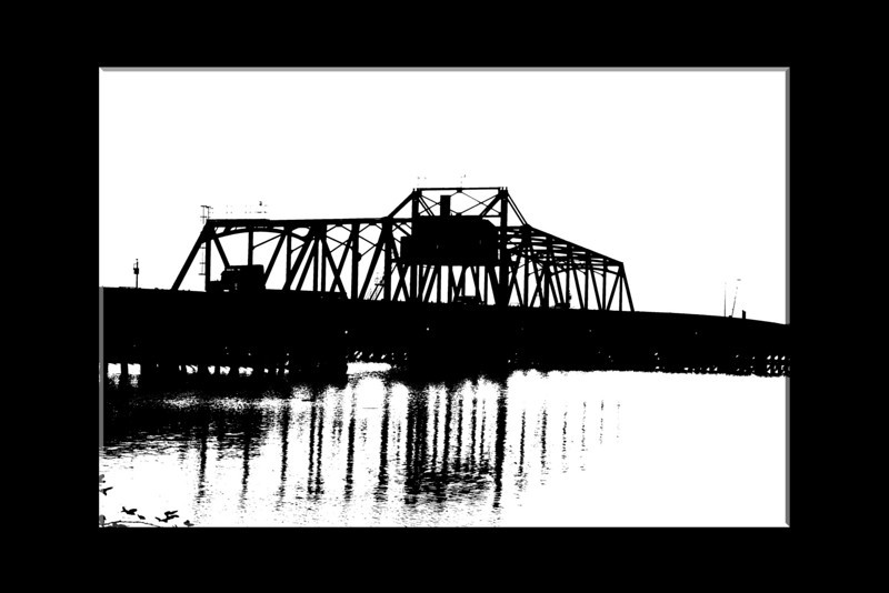 High-key image of a bridge over the lower Mokelumne River near Isleton, California, black and white. Oct 2008 framed (8 x 12 or 16 x 24)