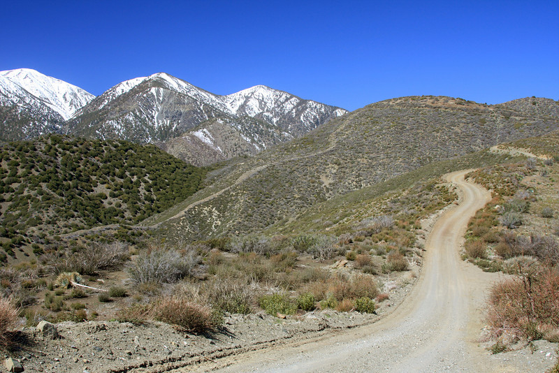 Road (4WD) along mountain ridge at Lytle Creek, CA and snow-capped mountains in late March 2008.