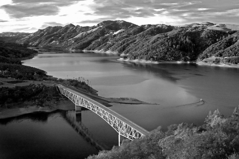 Bridge over Lake Sonoma in Northern California. Black and White rendition. Dec 1, 2009