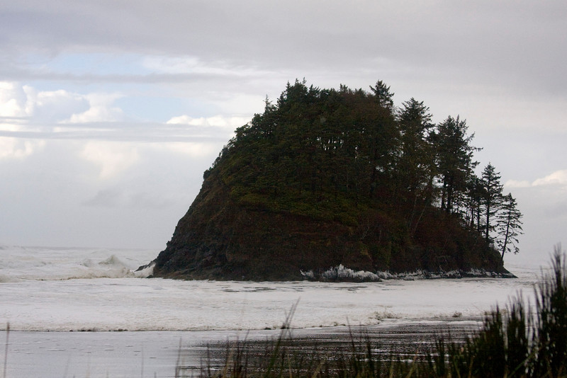 Proposal Rock at Neskowin State Park on central Oregon coast during storm surge. Normally you walk up to the cliffs on the back of this rock (in normal seas). Nov 7, 2009