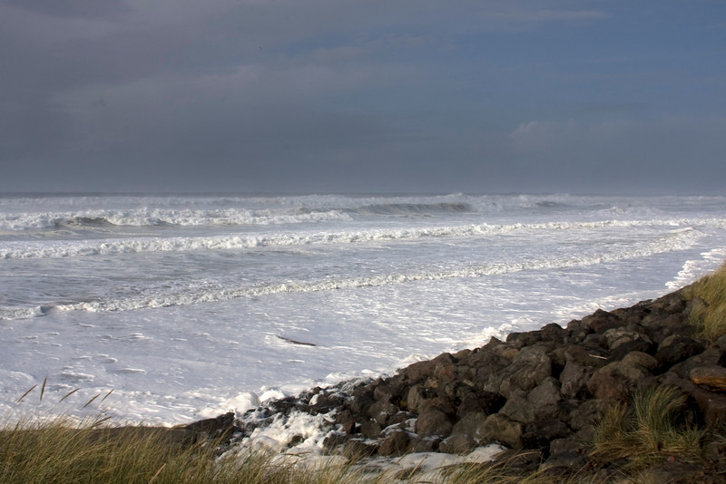 Large seas off the central coast of Oregon on November 6 2009 caused by a big storm in the Gulf of Alaska and high tide. The white foam at the beach is caused by wind-whipped froth of little microscopic diatoms.