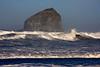 Ocean surf at Cape Kiwanda and Haystack Rock near Pacific City, Oregon. Nov 1, 2009.