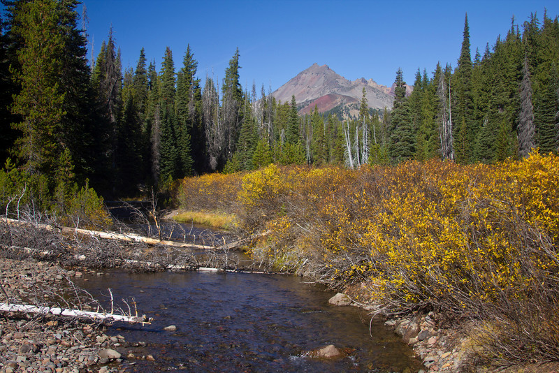 Broken Top in Three Sisters Wilderness (Oregon) with Soda Creek in foreground with fall colors. Oct 19, 2010.